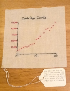 Embroidered graph of Cambridge population