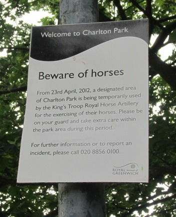 Beware of horses in Charlton Park